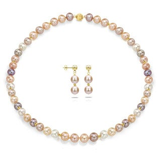 DaVonna 14k Yellow Gold 7-8mm Multi Pink High Luster Freshwater Pearl Necklace and Dangle Earrings Jewelry Set
