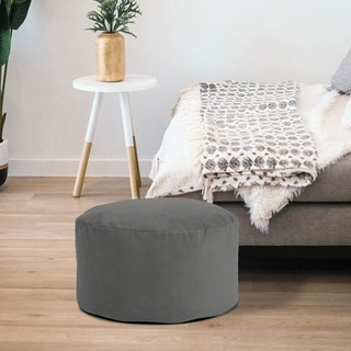 Bella Solid Pewter Grey Foot Pouf