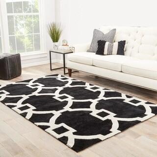Bronx Handmade Trellis Black/ White Area Rug (9' X 12')