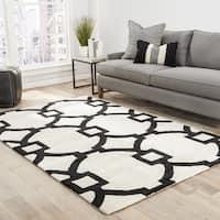 Bronx Handmade Trellis White/ Black Area Rug (9' X 12')
