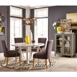 Elegant Design 6-piece Round Dining Set with Accent Storage Cabinet