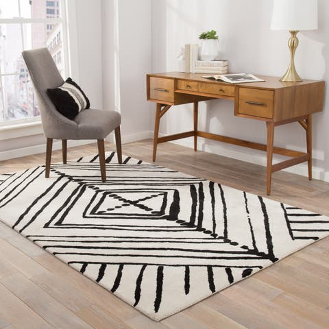 "Nikki Chu Gemma Handmade Abstract White/ Black Area Rug (9' X 12') - 8'10"" x 11'9"""