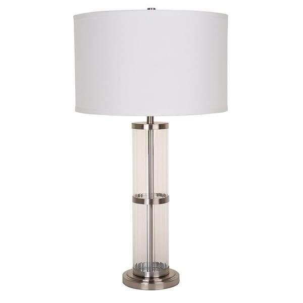 Catalina Lighting 20444-000 Leon Silver Glass Table Lamp