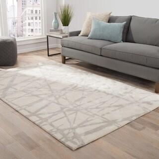 Nikki Chu Avondale Handmade Abstract White/ Gray Area Rug (9' X 12')