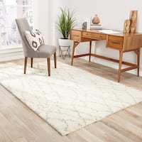 """Ines Hand-Knotted Trellis Cream/ Brown Area Rug (9' X 12') - 8'10""""x11'9"""""""