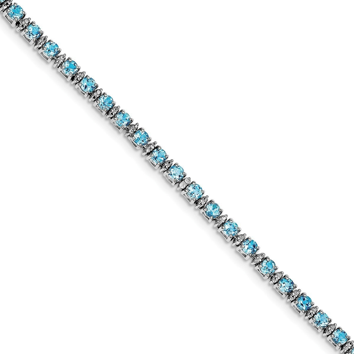 Versil Sterling Silver Rhodium-plated Blue Topaz and Diam...