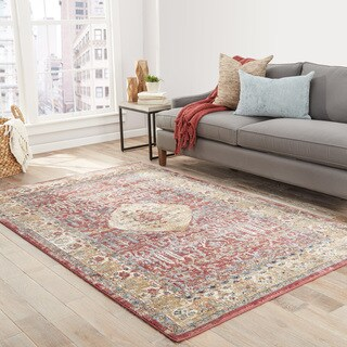 Alanya Floral Red/ Gold Area Rug (9' X 12')