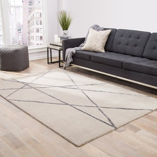 Declan Handmade Abstract Beige/ Pewter Area Rug (9' X 12')