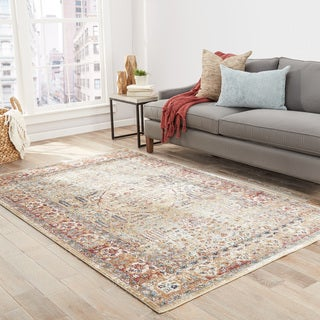 The Curated Nomad Thomas Floral Taupe/ Mauve area Rug - 9' x 12'
