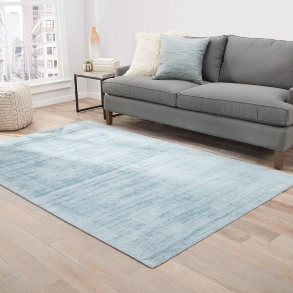 "Lizette Handmade Solid Blue Area Rug (9' X 12') - 8'10"" x 11'9"""