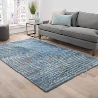 Catao Handmade Abstract Blue/ Grey Area Rug (9' x 12')