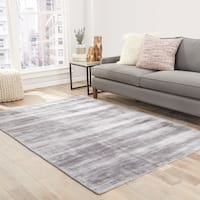 """Lizette Handmade Solid Gray/ Silver Area Rug (9' X 12') - 8'10"""" x 11'9"""""""
