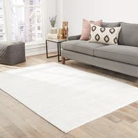 "Lizette Handmade Solid White Area Rug (9' X 12') - 8'10"" x 11'9"""