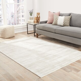 "Lizette Handmade Solid Silver Area Rug (9' X 12') - 8'10"" x 11'9"""