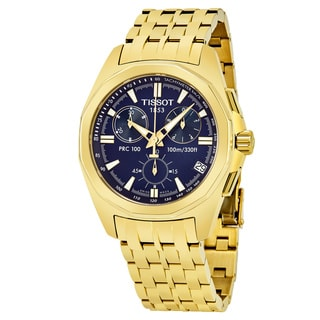 Tissot Men's T22.5.686.41 'PRC 100' Blue Dial Yellow Goldtone Stainless Steel Chronograph Swiss Quartz Watch