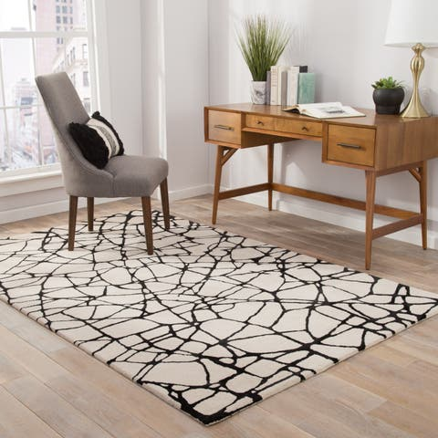 Nikki Chu Chandler Handmade Abstract Cream/ Black Area Rug (10' X 14') - 10' x 14'