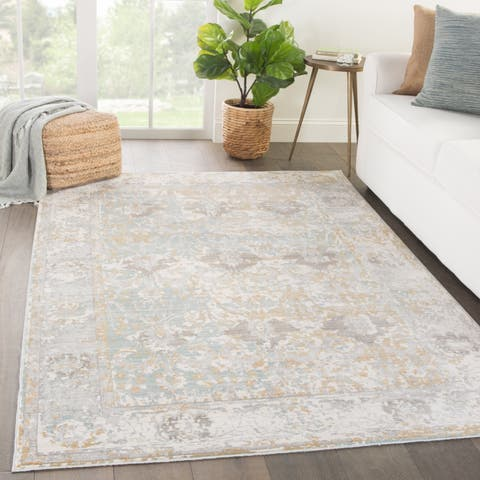Elspeth Bordered Gray Blue Area Rug 9 X 12 8