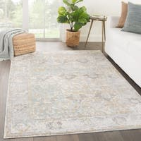 """Elspeth Bordered Gray/ Blue Area Rug (9' X 12') - 8'10"""" x 11'9"""""""