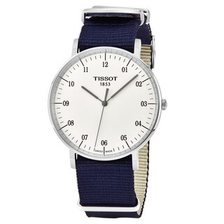 Tissot Men's T109.610.17.037.00 'Every time Big' Silver Dial Blue Fabric Strap Swiss Quartz Watch - N/A
