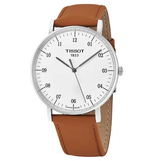 Tissot Men's 'T-Classic' Silver Dial Tan Leather Strap Swiss Quartz Watch