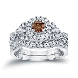 Auriya 14k 3/4ct TDW Halo Brown Diamond Braided Bridal Ring Set (H-I, I1-I2)