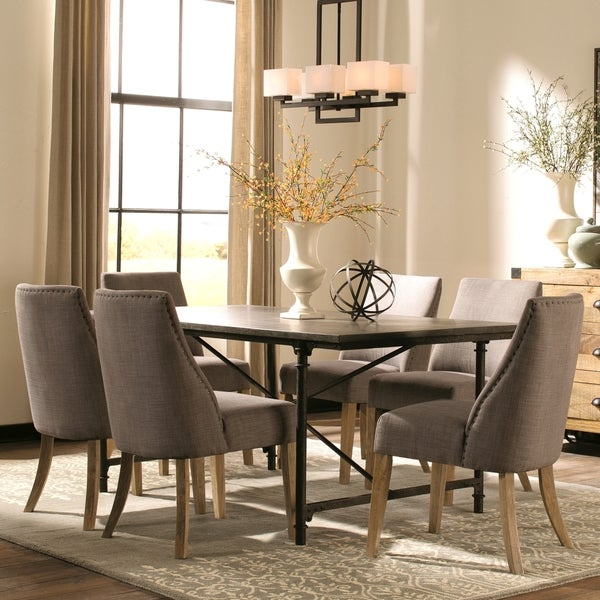 Merveilleux Modern Vintage Industrial Style Natural Blue Stone And Metal Dining Set