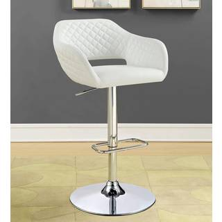 Modern Diamond Tufted  White Adjustable Bar Stool