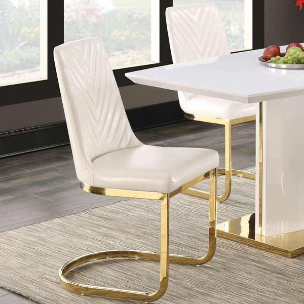 Contemporary Modern Design Gold-tone Dining Chairs (Set of 2)