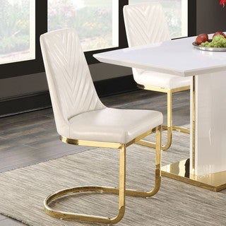 modern design goldtone dining chairs set of 2