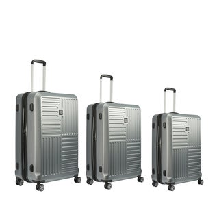 Ful Urban Grid Silver 3-piece Hardside Spinner Luggage Set