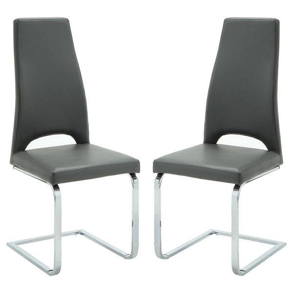 Modern Design Grey Upholstered Dining Chairs (Set of 2)