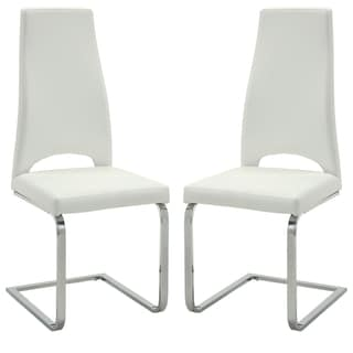 Modern Design White-Cream Upholstered Dining Chairs (Set of 2)