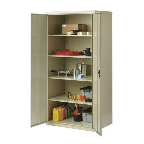 Iron Horse 5 Shelf Metal Storage Cabinet 18D x 36W x 72H in Putty