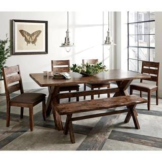 Rustic Knotty Burl Designed Country Style Dining Set