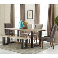 Waved Edged Rustic Design Metal Base Dining Set with Upholstered Chairs and Bench