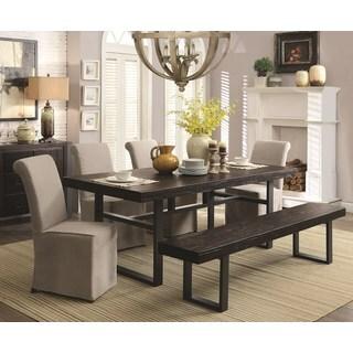 Industrial Style Rustic Bold Design Black Metal Base Dining Set