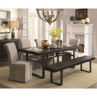 Industrial Style Rustic Bold Design Black Metal Base Dining Set