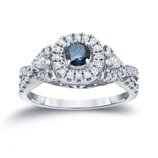 Auriya 14k 4/6ct TDW Halo Blue Diamond Engagement Ring (H-I, I1-I2)