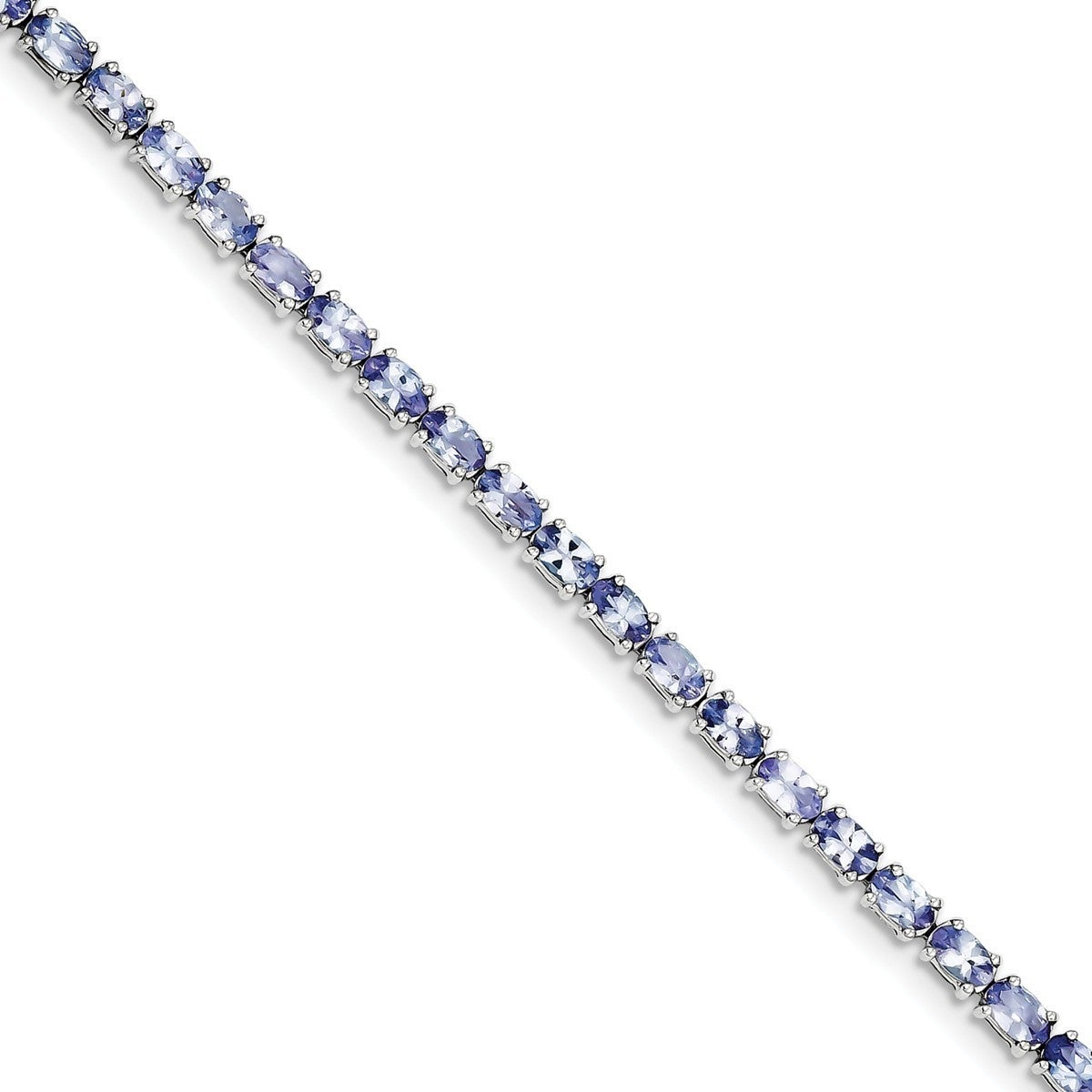Versil Sterling Silver Rhodium-plated Tanzanite Bracelet ...