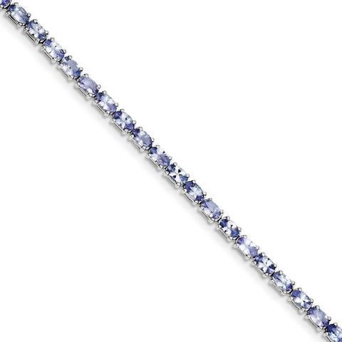 Versil Sterling Silver Rhodium-plated Tanzanite Bracelet
