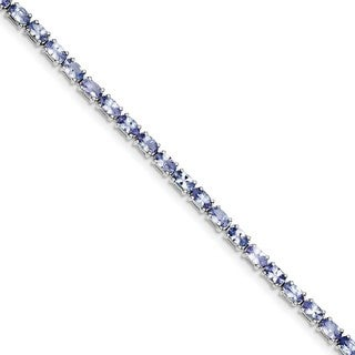 Sterling Silver Rhodium-plated Tanzanite Bracelet