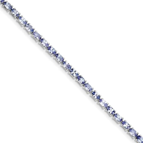 Sterling Silver Rhodium-plated Polished Tanzanite Bracelet by Versil