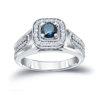 Auriya 14k 1/2ct TDW Halo Blue Diamond Engagement Ring (H-I, I1-I2)