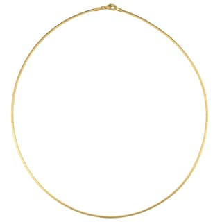 Fremada Italian 14k Yellow Gold Square Omega Necklace (1.5-mm, 16 inch)