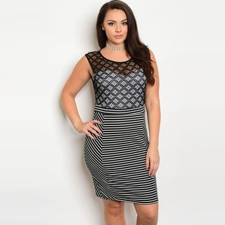 Shop The Trends Women's Plus Size Sleeveless Short Dress With Sheer Lace Top And Striped Skirt (2 options available)