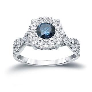 Auriya 14k 1ct TDW Blue Cluster Diamond Braided Engagement Ring (H-I, I1-I2)