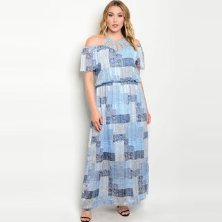 Shop The Trends Women's Plus Size Short Sleeve Cold Shoulders Maxi Dress With Caged Round Neckline And Allover Geometric Print