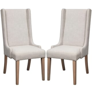 Wing Back Design Beige Dining Chairs (Set of 2)