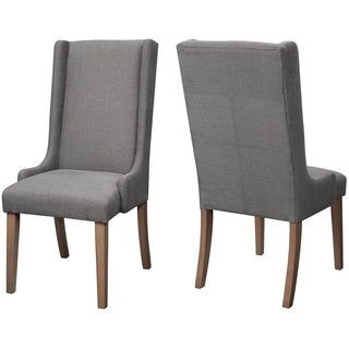 Wing Back Design Grey Dining Chairs (Set of 2)