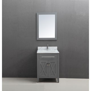 24 inch Belvedere Traditional Freestanding Grey Bathroom Vanity w/ marble top